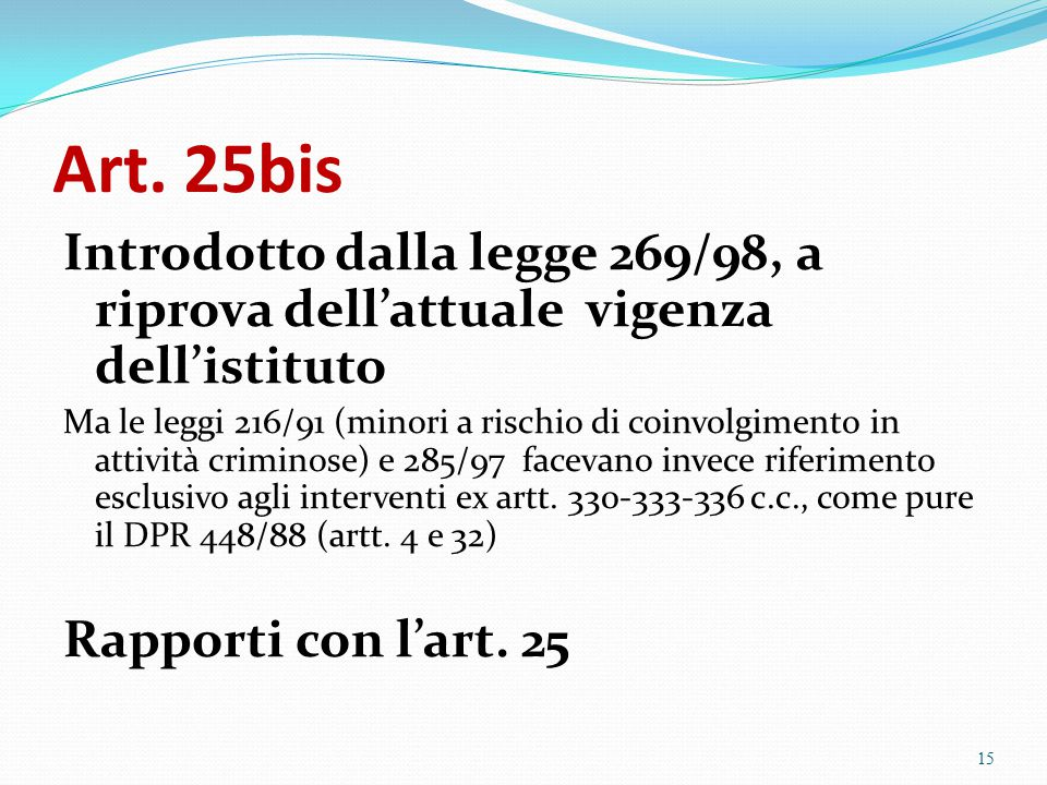 Art. 25bis Introdotto dalla legge 269/98, a riprova dell'attuale vigenza dell'istituto.