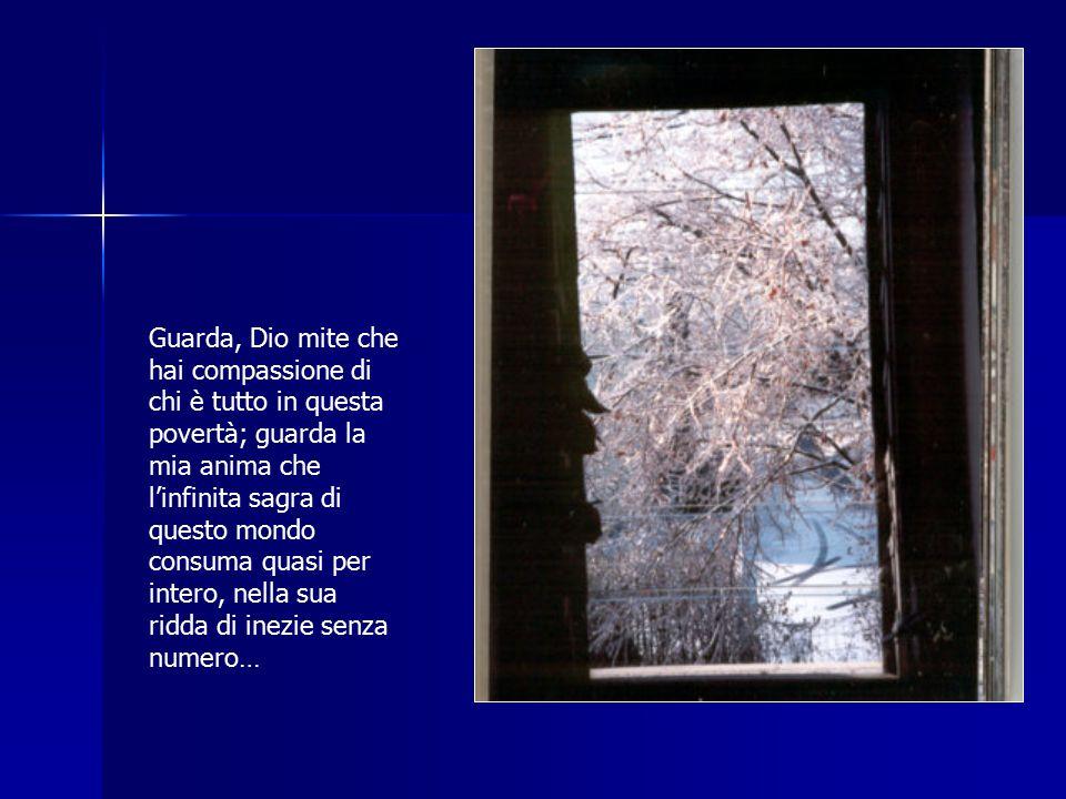 Guarda, Dio mite che hai compassione di chi è tutto in questa povertà; guarda la mia anima che l'infinita sagra di questo mondo consuma quasi per intero, nella sua ridda di inezie senza numero…