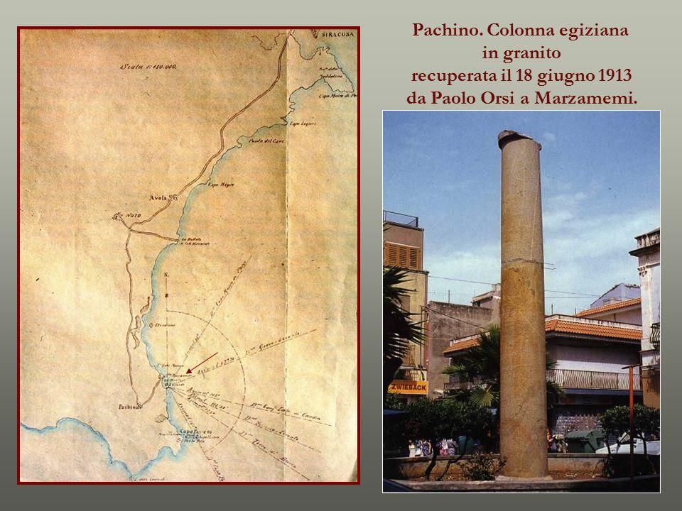 Pachino. Colonna egiziana da Paolo Orsi a Marzamemi.