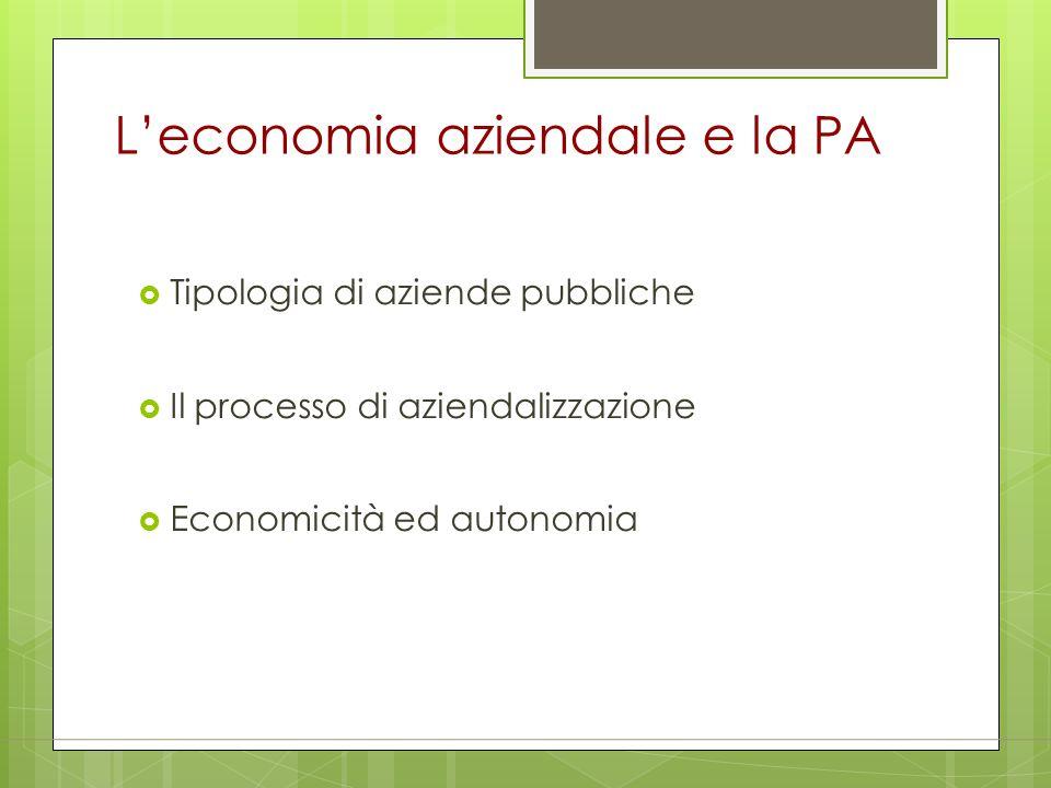 L'economia aziendale e la PA