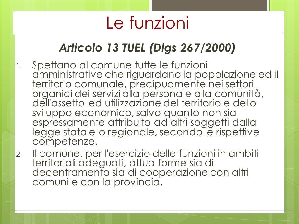 Le funzioni Articolo 13 TUEL (Dlgs 267/2000)