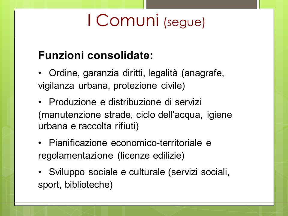 I Comuni (segue) Funzioni consolidate: