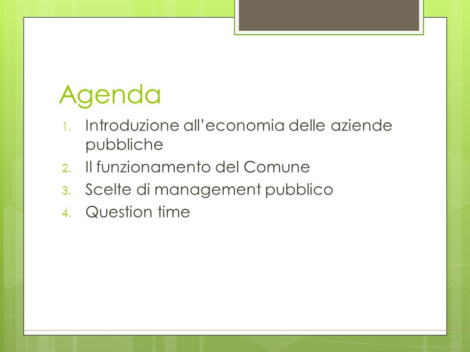 Agenda Introduzione all'economia delle aziende pubbliche