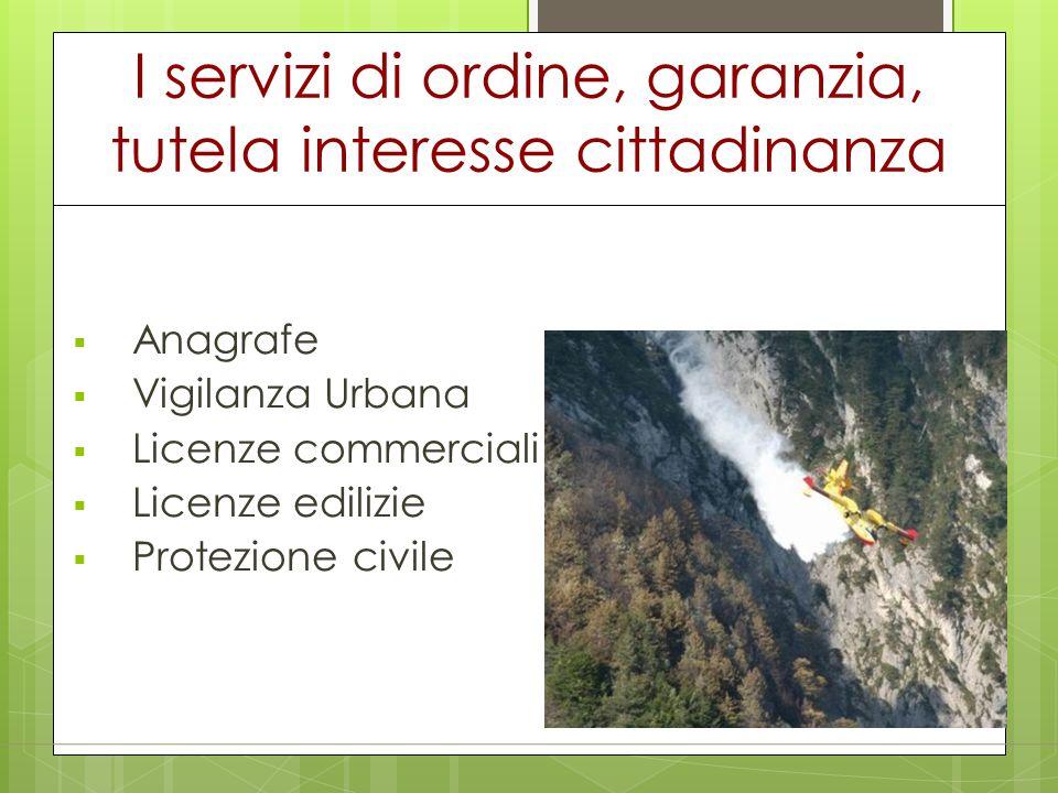 I servizi di ordine, garanzia, tutela interesse cittadinanza