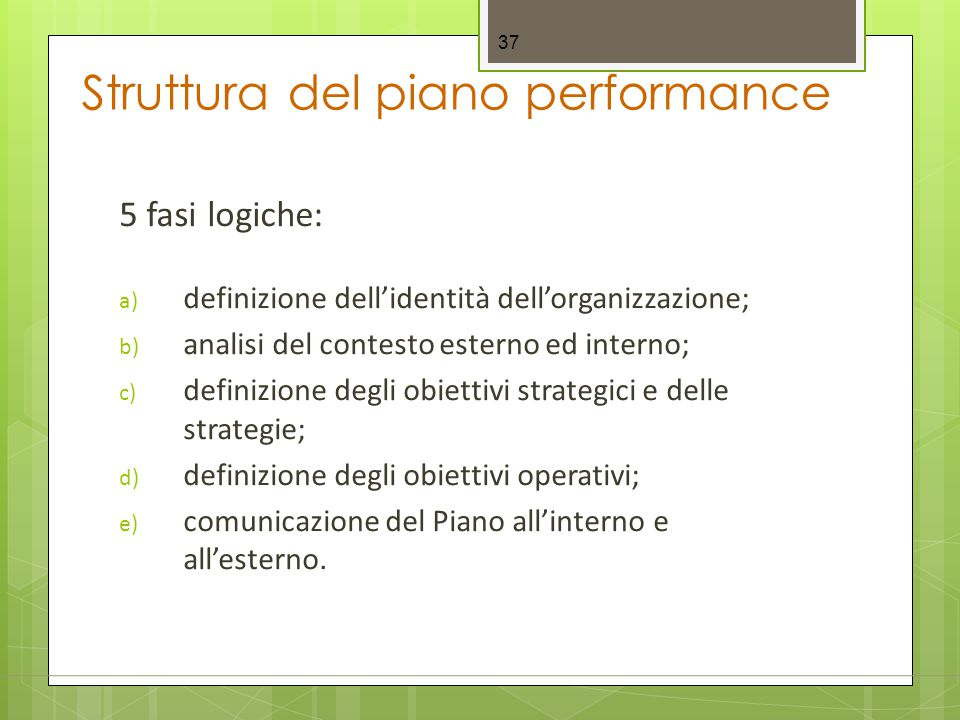 Struttura del piano performance