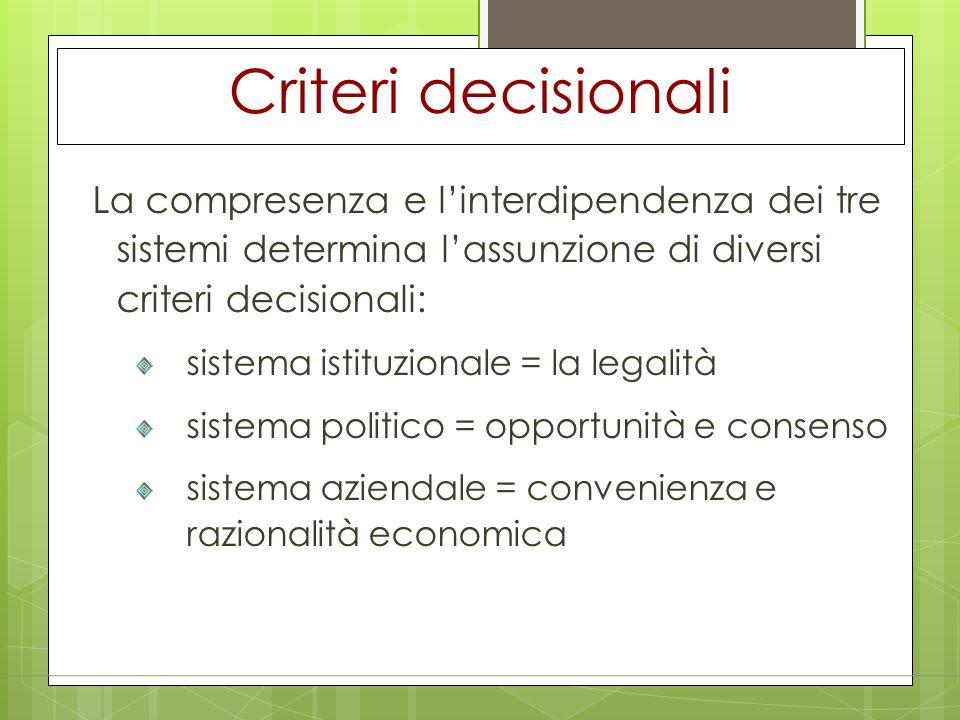 Criteri decisionali sistema istituzionale = la legalità