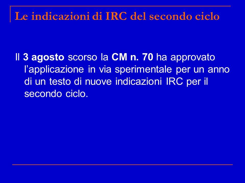 Le indicazioni di IRC del secondo ciclo