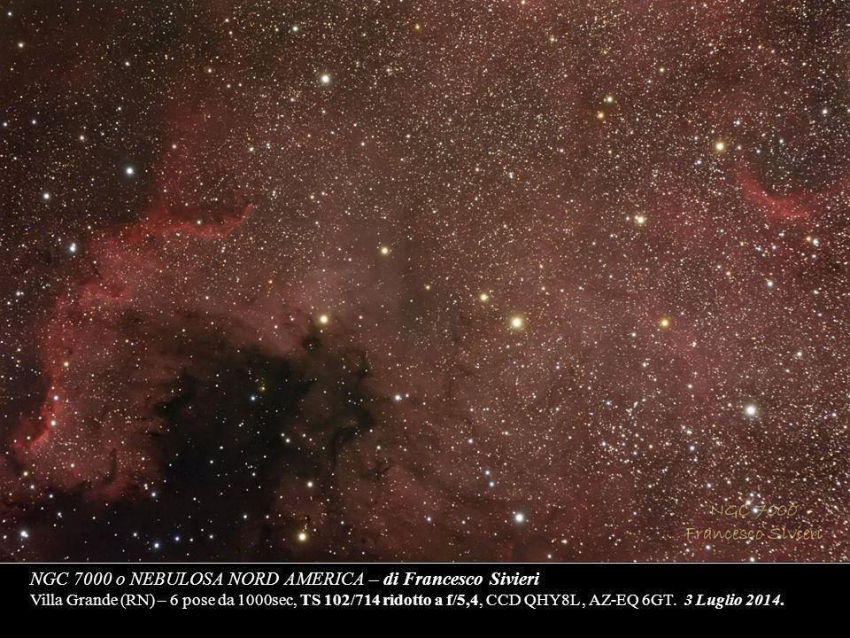 NGC 7000 o NEBULOSA NORD AMERICA – di Francesco Sivieri Villa Grande (RN) – 6 pose da 1000sec, TS 102/714 ridotto a f/5,4, CCD QHY8L , AZ-EQ 6GT. 3 Luglio 2014.