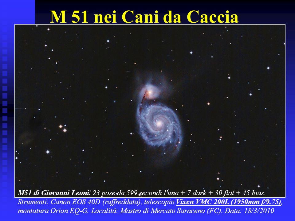 M 51 nei Cani da Caccia M51 di Giovanni Leoni. 23 pose da 599 secondi l una + 7 dark + 30 flat + 45 bias.