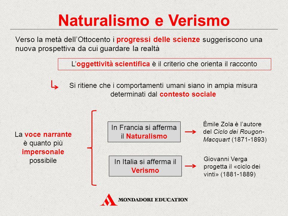 Naturalismo e Verismo Verso la metà dell'Ottocento i progressi delle scienze suggeriscono una nuova prospettiva da cui guardare la realtà.