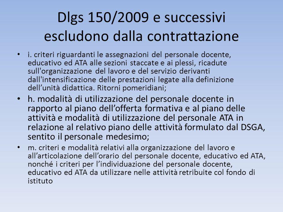 Dlgs 150/2009 e successivi escludono dalla contrattazione