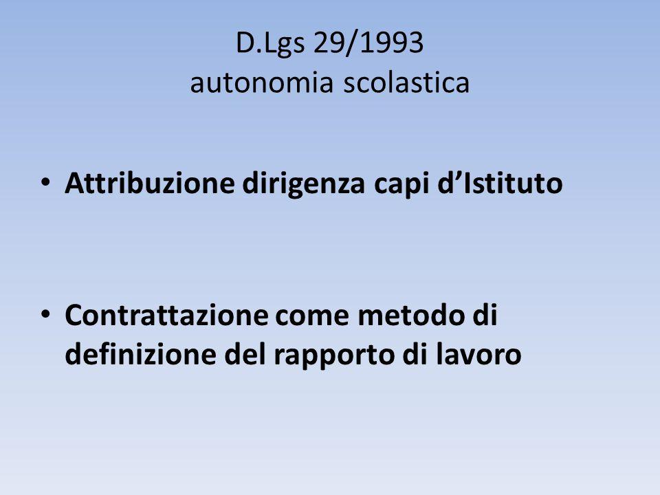 D.Lgs 29/1993 autonomia scolastica
