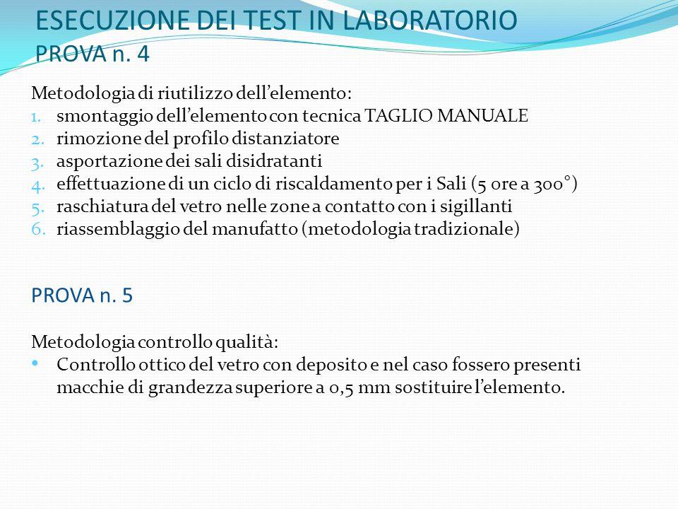 ESECUZIONE DEI TEST IN LABORATORIO PROVA n. 4