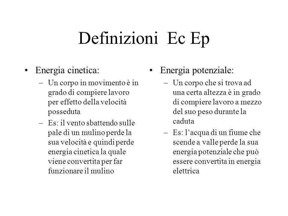 Definizioni Ec Ep Energia cinetica: Energia potenziale: