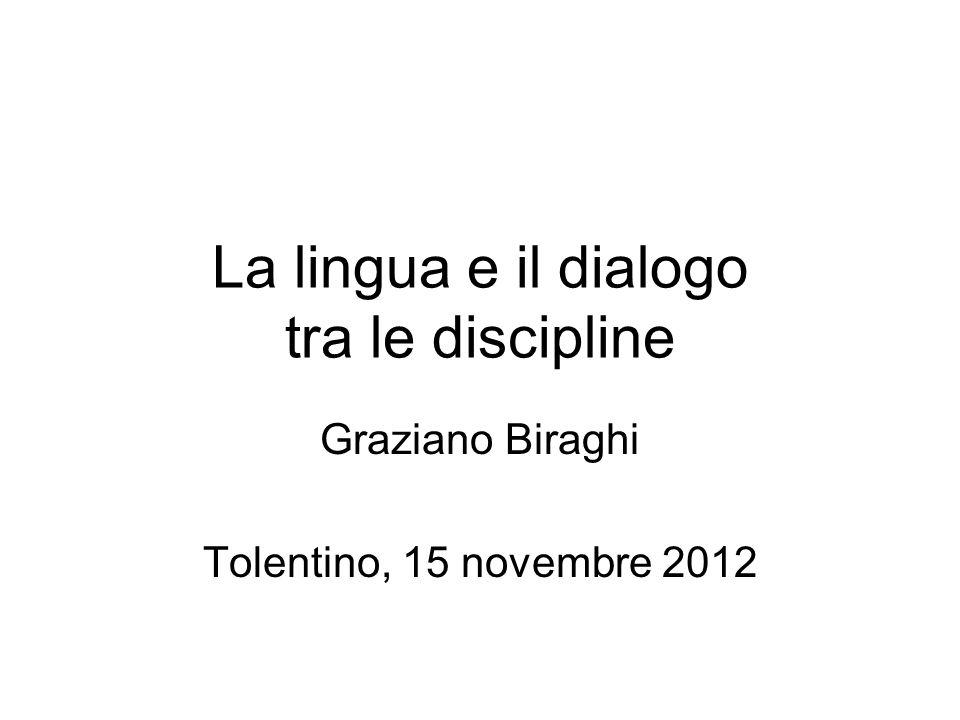 La lingua e il dialogo tra le discipline