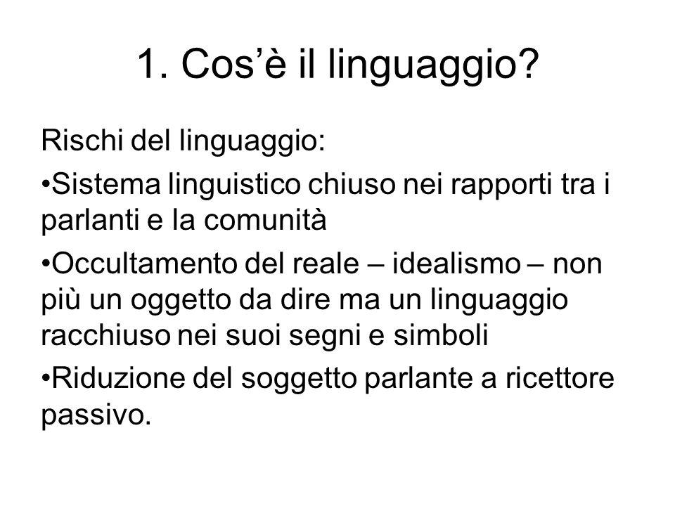 1. Cos'è il linguaggio Rischi del linguaggio: