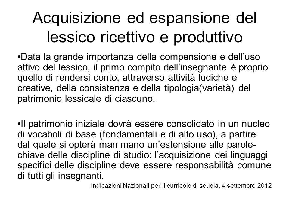 Acquisizione ed espansione del lessico ricettivo e produttivo