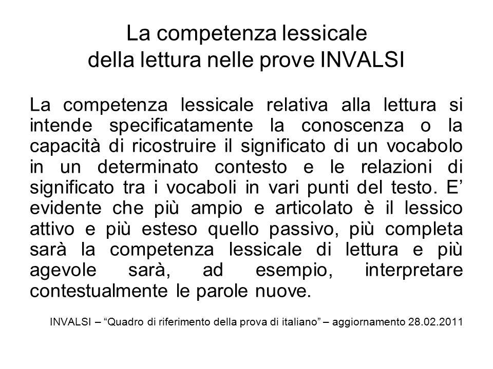 La competenza lessicale della lettura nelle prove INVALSI