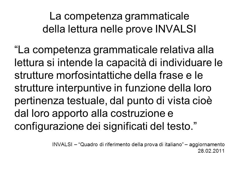 La competenza grammaticale della lettura nelle prove INVALSI