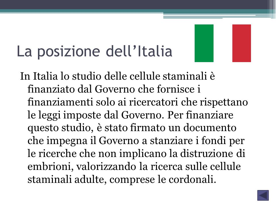 La posizione dell'Italia