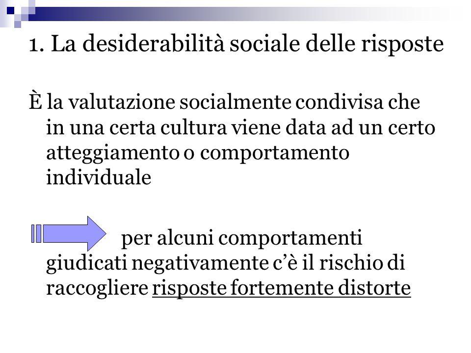 1. La desiderabilità sociale delle risposte