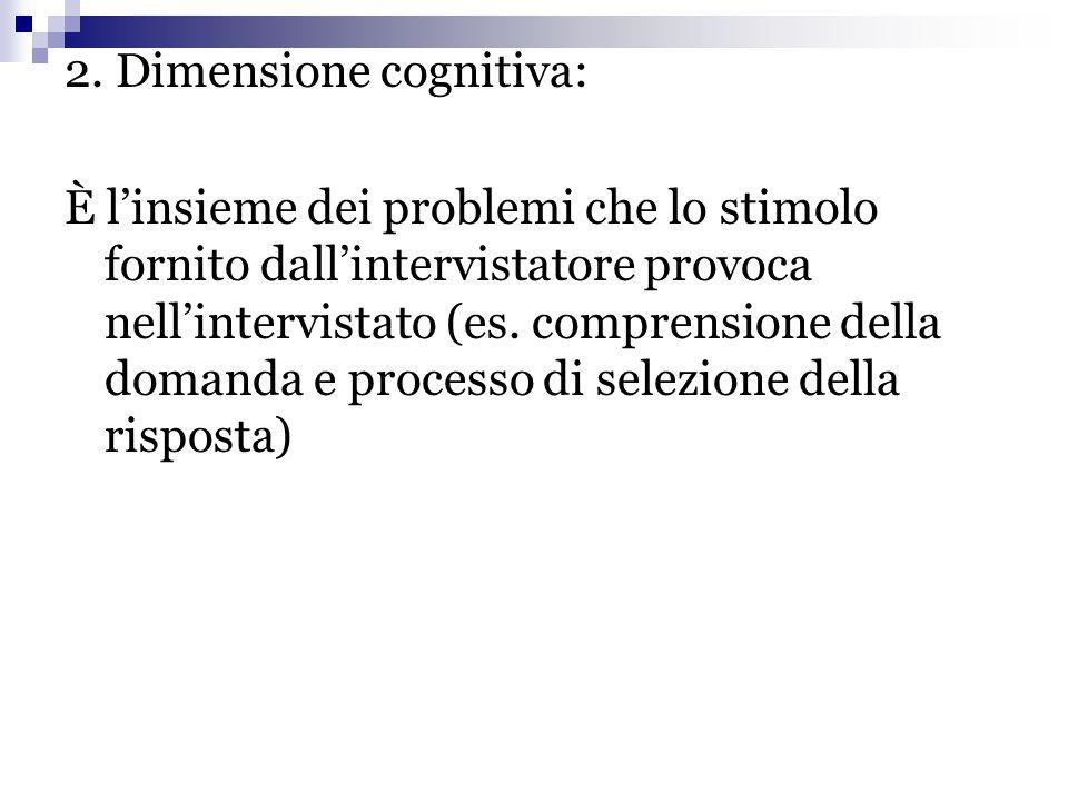 2. Dimensione cognitiva: