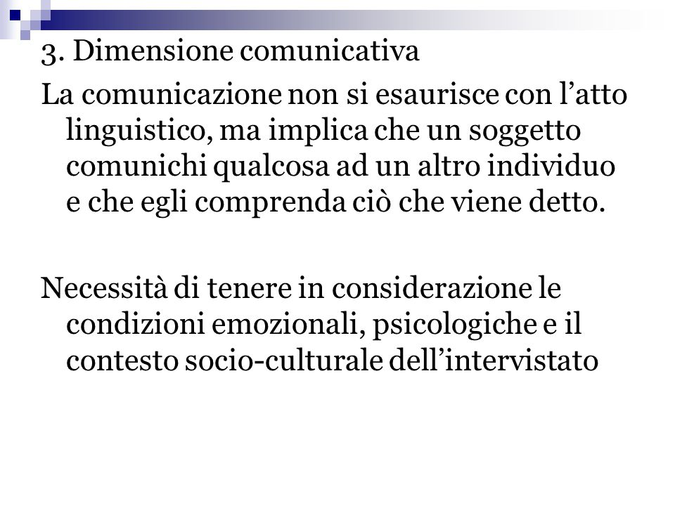 3. Dimensione comunicativa