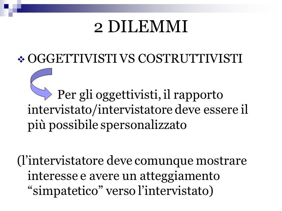 2 DILEMMI OGGETTIVISTI VS COSTRUTTIVISTI