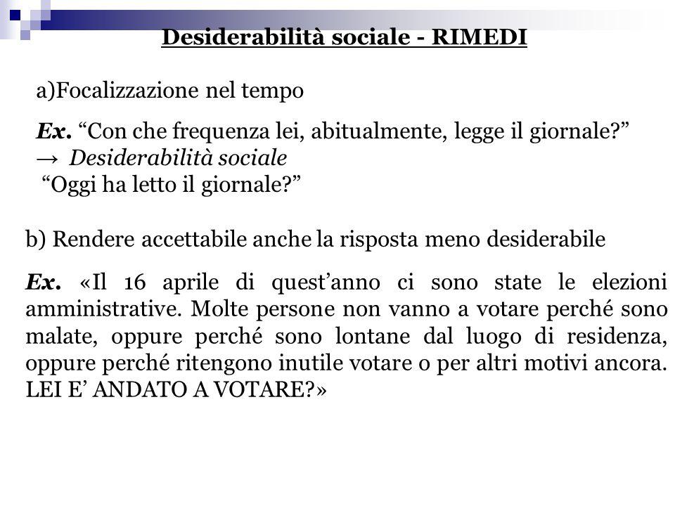 Desiderabilità sociale - RIMEDI