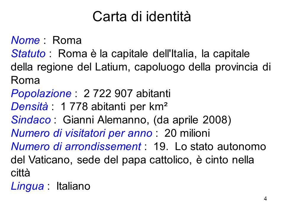 Carta di identità Nome : Roma
