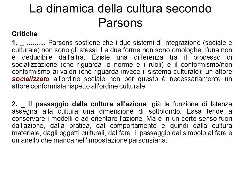 La dinamica della cultura secondo Parsons
