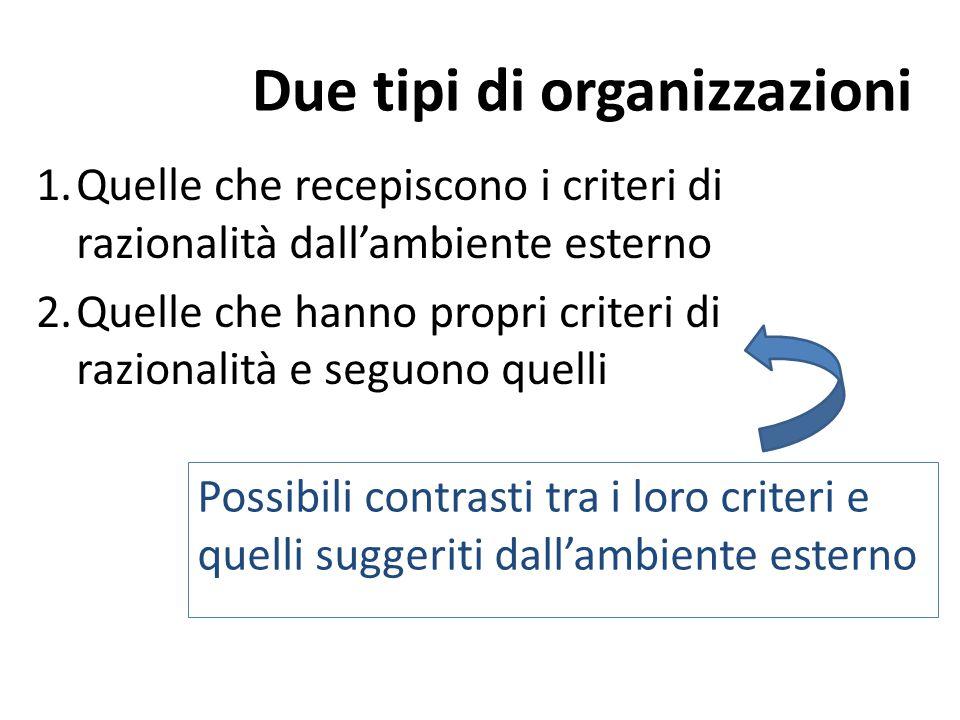 Due tipi di organizzazioni