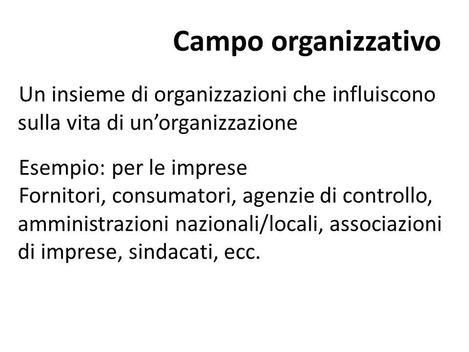 Campo organizzativo Un insieme di organizzazioni che influiscono sulla vita di un'organizzazione. Esempio: per le imprese.