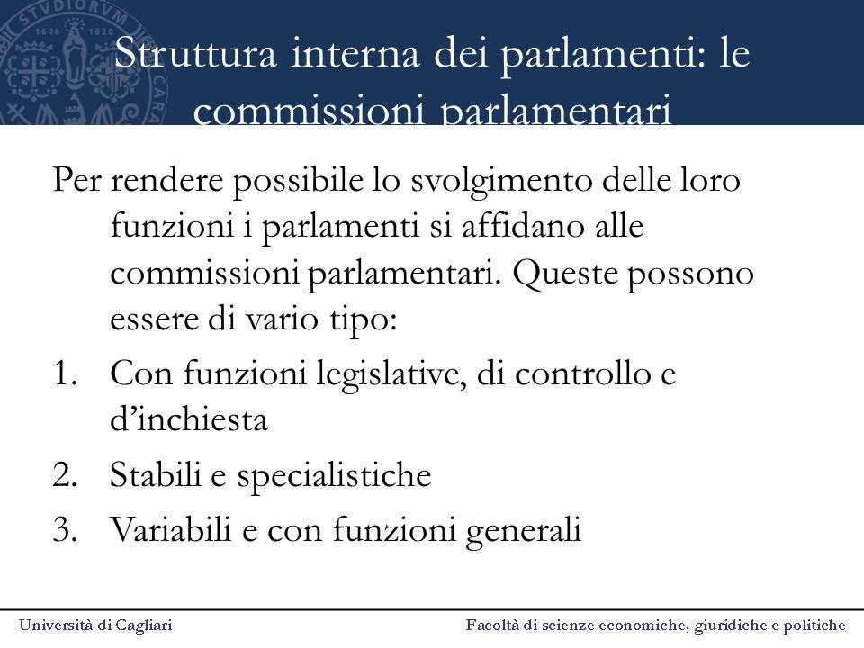 Struttura interna dei parlamenti: le commissioni parlamentari