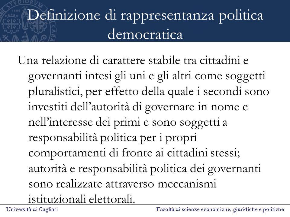 Definizione di rappresentanza politica democratica