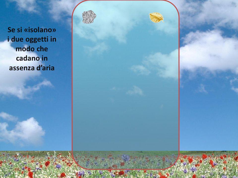 Se si «isolano» i due oggetti in modo che cadano in assenza d'aria