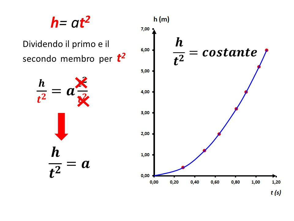 h= at2 Dividendo il primo e il secondo membro per t2