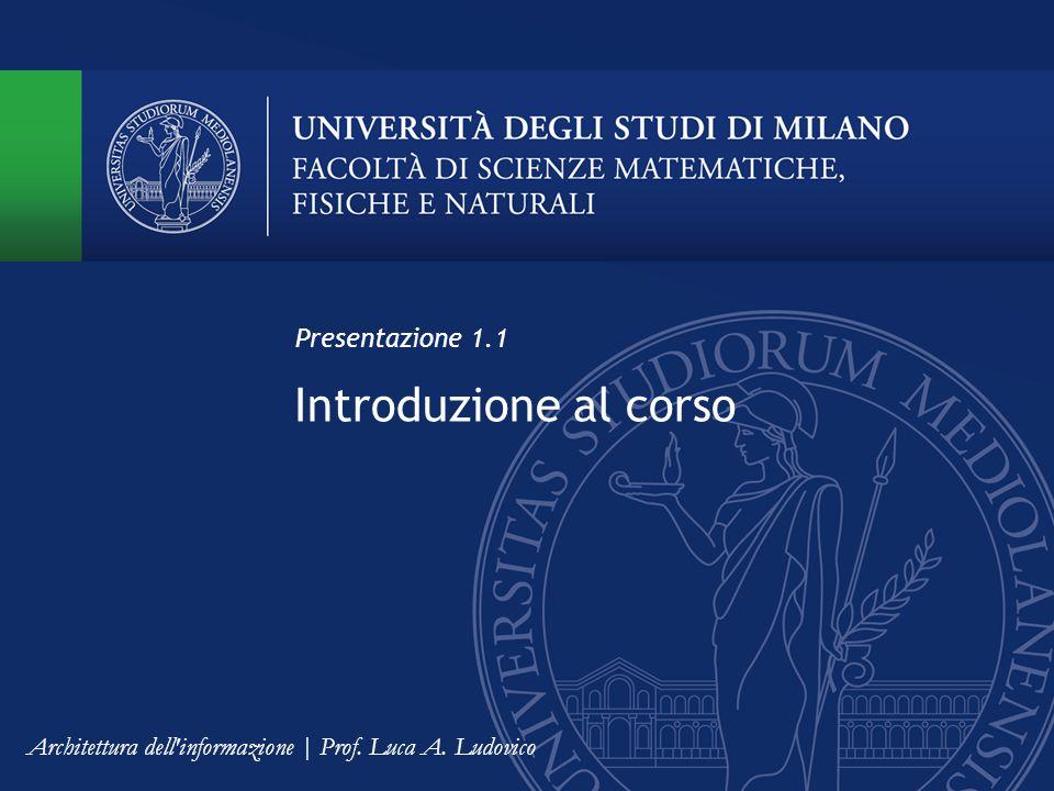 Introduzione al corso Presentazione 1.1
