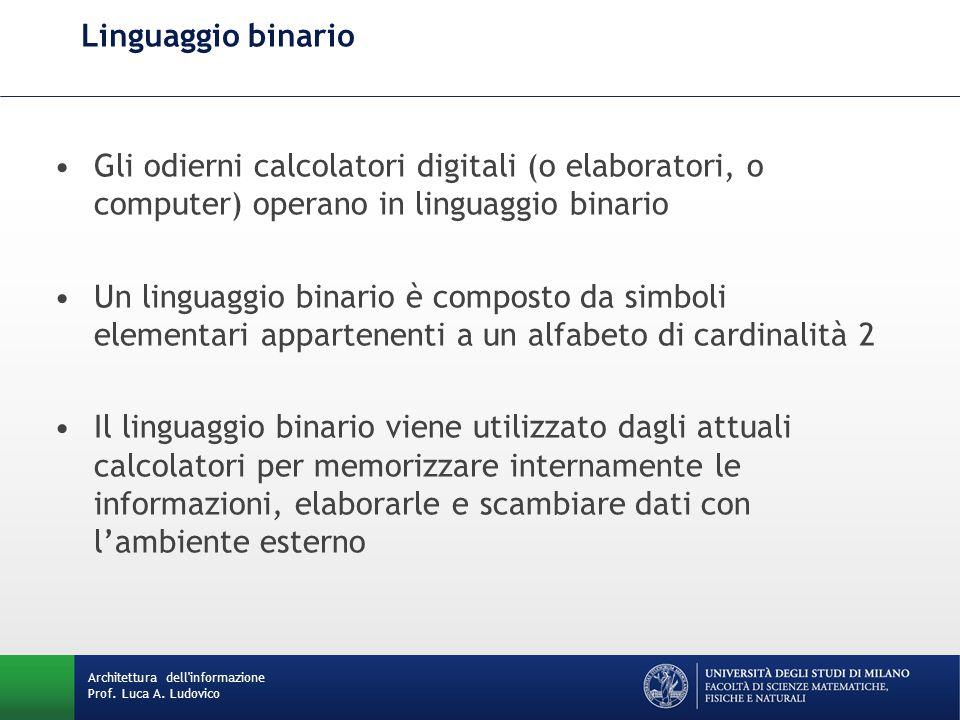 Linguaggio binario Gli odierni calcolatori digitali (o elaboratori, o computer) operano in linguaggio binario.