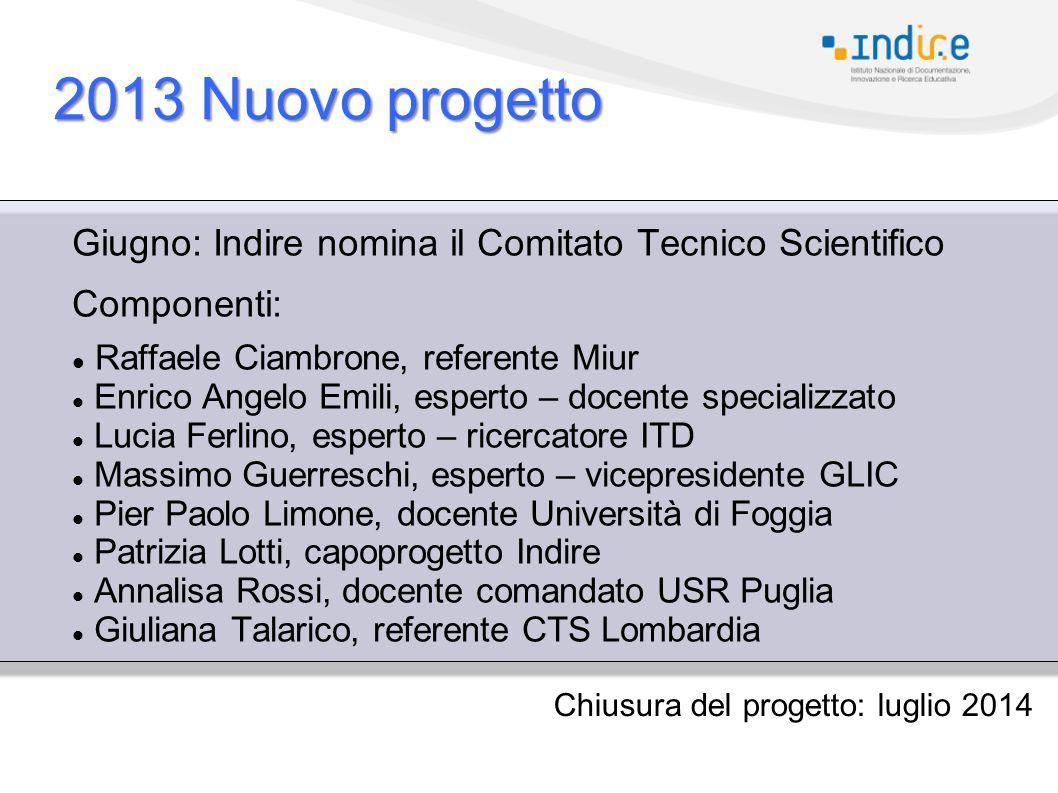 2013 Nuovo progetto Giugno: Indire nomina il Comitato Tecnico Scientifico. Componenti: Raffaele Ciambrone, referente Miur.