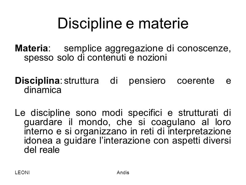 Discipline e materie Materia: semplice aggregazione di conoscenze, spesso solo di contenuti e nozioni.