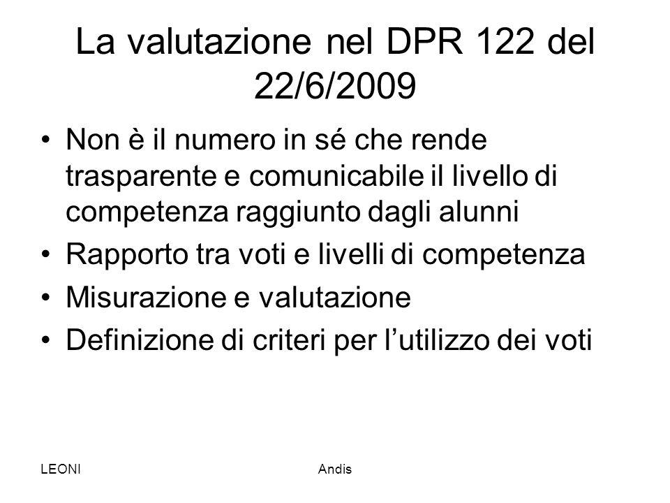 La valutazione nel DPR 122 del 22/6/2009