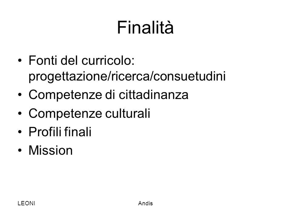 Finalità Fonti del curricolo: progettazione/ricerca/consuetudini