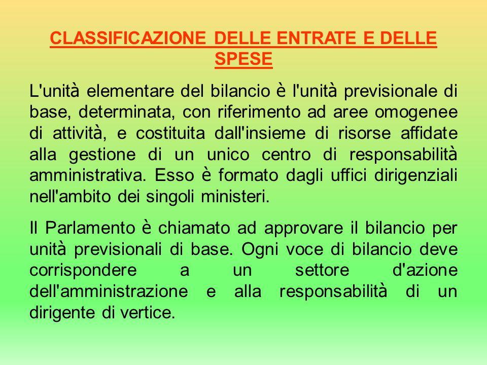 CLASSIFICAZIONE DELLE ENTRATE E DELLE SPESE