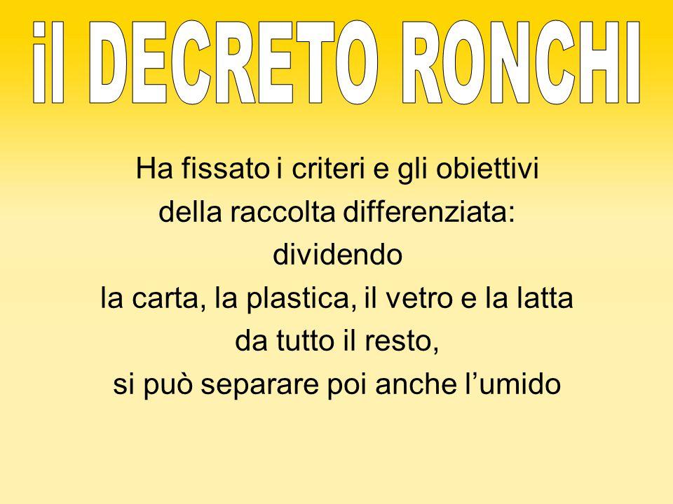 il DECRETO RONCHI Ha fissato i criteri e gli obiettivi