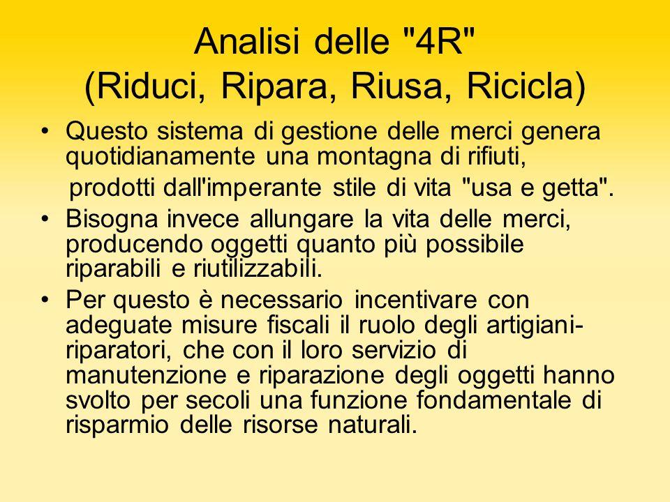Analisi delle 4R (Riduci, Ripara, Riusa, Ricicla)