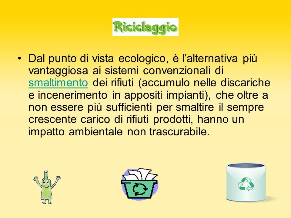 Dal punto di vista ecologico, è l'alternativa più vantaggiosa ai sistemi convenzionali di smaltimento dei rifiuti (accumulo nelle discariche e incenerimento in appositi impianti), che oltre a non essere più sufficienti per smaltire il sempre crescente carico di rifiuti prodotti, hanno un impatto ambientale non trascurabile.