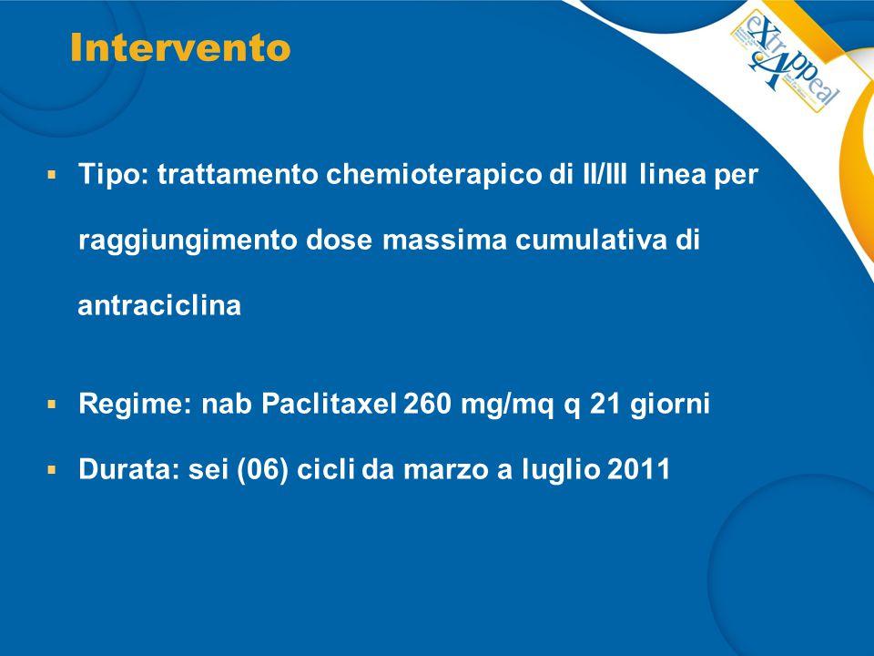 Intervento Tipo: trattamento chemioterapico di II/III linea per