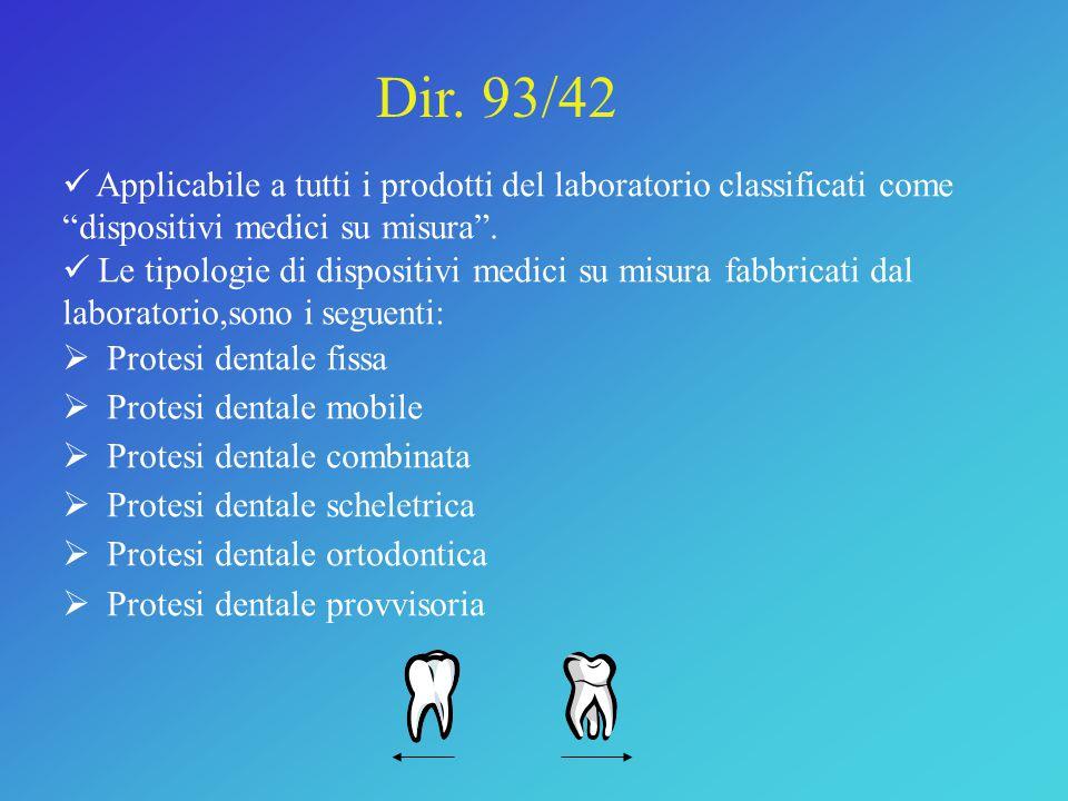 Dir. 93/42 Applicabile a tutti i prodotti del laboratorio classificati come dispositivi medici su misura .