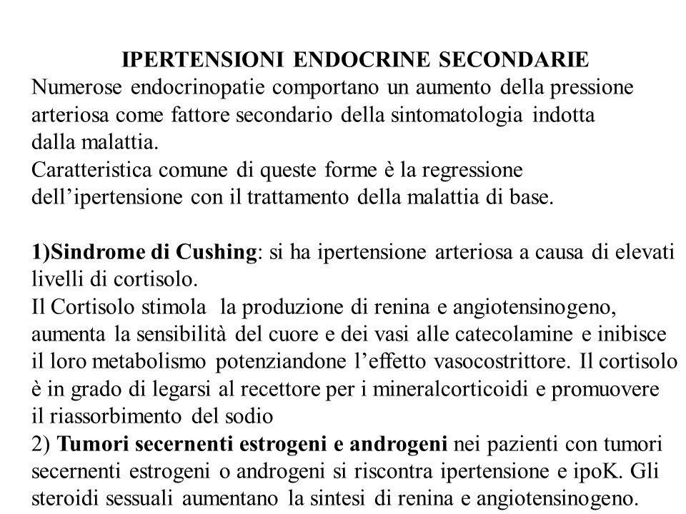 IPERTENSIONI ENDOCRINE SECONDARIE
